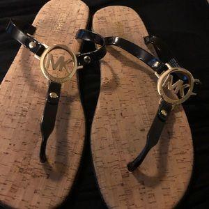 MK Black Patent Leather Thong Sandals (NWOT)